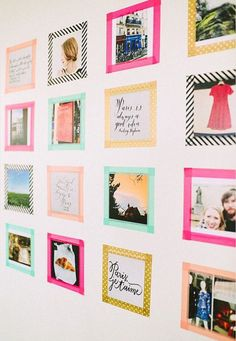 Hanging up pictures with washi tape! So much cuter