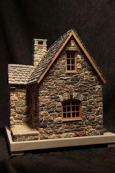 miniature stone cottage - Decoration Fireplace Garden art ideas Home accessories Stone Cottages, Stone Houses, Fairy Garden Houses, Fairy Gardens, Garden Art, Putz Houses, Paper Houses, Miniature Houses, Miniature Gardens