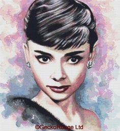 Gecko Rouge modern cross stitch are proud to announce that we have teamed up with ©Emily Luella Measures 14 count 13 71 x 15 07 inches 18 count 10 67 Audrey Hepburn Painting, Audrey Hepburn Photos, Cute Wallpaper Backgrounds, Cute Wallpapers, Thing 1, Beautiful Paintings, Watercolor Paintings, Watercolour, Giclee Print