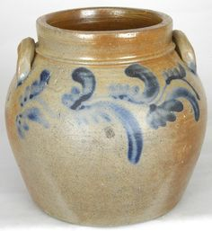 One gallon stoneware preserve jar, attributed to William C. Coffman or his son, William R. Coffman, Rockingham Co., VA, circa 1860, H 7 1/2""