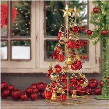 2015 ano novo Mini ferro de árvores de natal enfeites de natal bolas para mesas de plástico e estrelas decoração da árvore