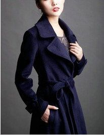 Black / Navy Blue  Wool Jacket women's Coat  women dress with belt Autumn Winter Spring--CO013. $144.99, via Etsy.