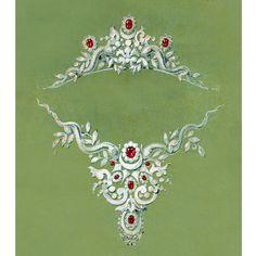 Mellerio dits Meller, 400 ans d'histoire livre Vincent Meylan dessin d'Oscar Massin pour un projet de parure en rubis