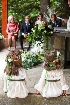 flower girls with floral hair pieces, long sleeves, very romantic and traditional (and adorable) Chapel Wedding, Chic Wedding, Dream Wedding, Wedding Day, Wedding Designs, Wedding Styles, Bohemian Bride, Wedding With Kids, Bridesmaid Flowers