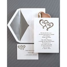 double heart wedding invitation red and white color change