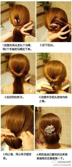 An Asian hairstyle. This is what my mother and I understand from the pictures.  1. Put your hair in a ponytail. 2. Pull your ponytail ABOVE your ponytail HOLDER. 3. Your hair should look like that. 4. Twist the remainder of your hair. 5. Tuck your hair in. 6. Pin it.  Will someone please try this and confirm what I and my mother think it says? Please?