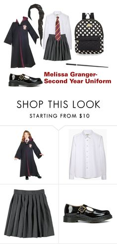 """Melissa Granger- Second Year Uniform"" by unitedbypotter ❤ liked on Polyvore featuring Rubie's Costume Co., Maison Kitsuné, French Toast, Dr. Martens and Betsey Johnson"