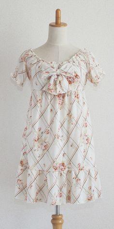 LIZ LISA Floral White Onepiece dress Lolita Hime Gyaru Kawaii Bowknot Shibuya109 #LizLisa #TeaDress