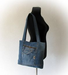 Upcycled denim bag with top zipper jeans tote shopping bag