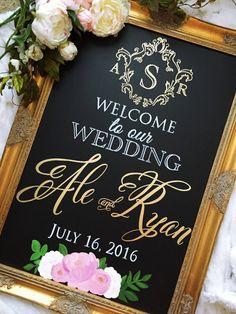 Wedding Chalkboard Sign Monogram Wedding Sign by BeauTiedAffair