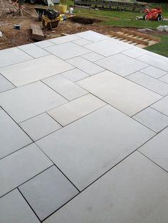 Garden slabs - Sawn Kandla Grey Indian Sandstone Paving Garden Slabs, Garden Tiles, Patio Slabs, Garden Paving, Patio Stone, Flagstone Patio, Outdoor Paving, Outdoor Flooring, Flooring Ideas
