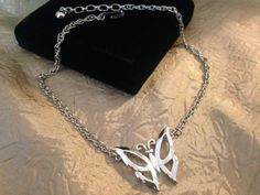 CROWN TRIFARI Silver Butterfly Necklace by GENEVEVES on Etsy