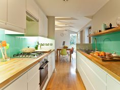 10 Kitchen Design ideas for Long Narrow Room →  http://wp.me/p8owWu-4Sd -  Long and narrow kitchen always identically with small space galley kitchen. In fact, the unique appearance of the galley kitchen can be created for all spaces of your kitchen area, either small or large spaces. That's why if you want to build or décor your kitchen area, it can be your best...