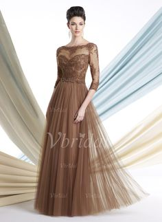 Mother of the Bride Dresses - $181.41 - A-Line/Princess Scoop Neck Floor-Length Tulle Mother of the Bride Dress With Lace Beading (00805008508)