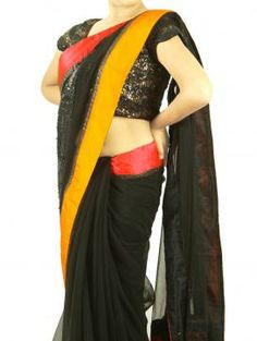 Hot black saree by Simaaya for just Rs 9045. Hurry up, visit http://www.designerkapde.com