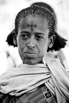 Portrait of a Christian Coptic Orthodox religious pilgrim with the cross tattooed on the forehead in Axum, tigray | Flickr - Photo Sharing!