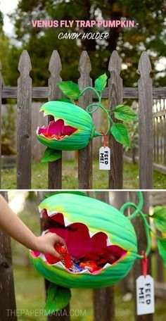 How to make a Venus Fly Trap Pumpkin Candy Holder DIY - MichaelsMakers The Paper Mama halloween manualidades Venus Fly Trap Pumpkin Candy Holder DIY - The Paper Mama Soirée Halloween, Adornos Halloween, Holidays Halloween, Halloween Treats, Halloween Pumpkins, Halloween Candy Bowl, Halloween Pumpkin Decorations, Halloween Garden Ideas, Diy Halloween Signs