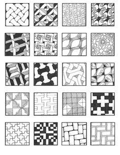 zentangle patterns for beginners Doodles Zentangles, Tangle Doodle, Tangle Art, Zentangle Drawings, Doodle Drawings, Doodle Art, Pattern Drawing, Pattern Art, Pattern Design