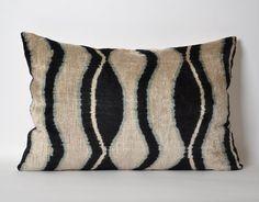 Velvet Ikat Pillow Cover - Ikat Pillows Velvet Lumbar Cream And Blackish Pillows Living Room Pillow Decorative Throw Pillow Accent Pillow
