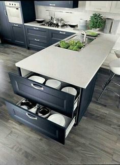 40 Ingenious Kitchen Cabinetry Ideas and Designs 45 Suprising Small Kitchen Design Ideas And Decor . Split - Kitchen Detail White and timber, bl. Contemporary Kitchen Cabinets, Kitchen Cabinetry, Kitchen Flooring, Kitchen Countertops, Contemporary Kitchens, Contemporary Decor, Navy Blue Kitchen Cabinets, Modern Countertops, Blue Countertops