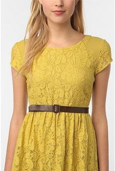 yellow dress - I like it with the belt. Maybe nude shoes?