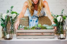 Place succulent crate on top of a neutral-hued table runner: http://www.stylemepretty.com/living/2015/08/30/diy-succulent-box-centerpiece/ | DIY: Fashionable Hostess - http://www.fashionablehostess.com/