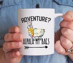 Llama Mug Funny Adventure Coffee Mug Adventure Awaits Camping Mugs Friend Gift Cute Coffee Mugs, Cute Mugs, Coffee Cups, Coffee Zone, Coffee Coffee, Alpacas, Adventure Awaits, Adventure Gifts, Alpaca My Bags