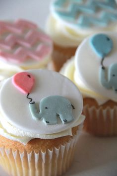 Baby Shower elephant and chevron edible fondant cupcake topper, Baby Girl on Etsy, $21.18 CAD