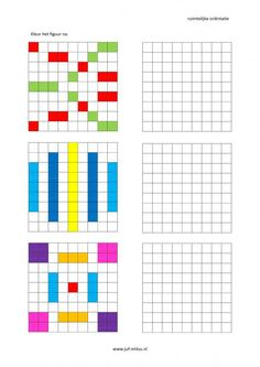 Werkbladen - ruimtelijke orientatie - nakleuren ~ Juf Milou Worksheets For Kids, Math Worksheets, Math Resources, Kindergarten Activities, Educational Activities, Teaching Kids, Kids Learning, Handwriting Games, Geo Board
