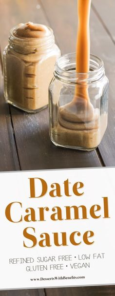 [How to make Date Caramel Sauce] This Healthy Date Caramel Sauce is silky smooth creamy rich and sweet you'd never know it's vegan and low fat with no sugar added! Healthy Dessert Recipes with sugar free low calorie low carb high protein gluten fr Healthy Vegan Dessert, Vegan Sweets, Healthy Desserts, Desserts Caramel, Healthy Recipes, Date Dessert Recipes Vegan, Recipes With Dates Healthy, Date Sugar Recipes, Easy Desserts