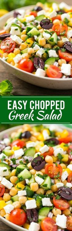 This recipe for chopped greek salad is a variety of fresh vegetables with chickpeas, creamy feta cheese and olives, all tossed in a greek lemon and herb vinaigrette. Greek Vegetables, Recipes For Vegetables, Fresh Vegetable Salad Recipes, Vegetable Meals, Vegetarian Salad Recipes, Healthy Salads, Spiral Vegetable Recipes, Veggie Recipes, Vegetarian Cheese