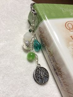 Tree of Life Bookmark  Green Aqua Lampwork Beads by Just4FunDesign, $10.00