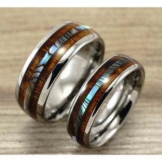 Tungsten Wedding Band Set with Mother of Pearl Abalone and Wood Inlay - Couple set