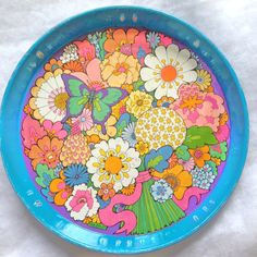 Vintage 60's Tray Ivan Ripley  Flower Power by AWorkofHeartVintage