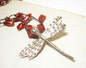 Dragonfly necklace paprika pearls pendant sterling silver crochet beaded pamelasjewelry