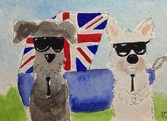 ACEO Original Watercolour Tommy & Archy 'Royal Bodygaurds' | eBay