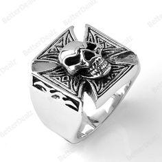 316L Stainless Steel Skull Cross Demon Gothic Finger Ring US 11