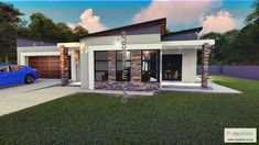 2 Bedroom House Plan MLB 107.4S - My Building Plans South Africa My Building, Building Plans, 2 Bedroom House Plans, Home Budget, Tuscan House, Modern House Plans, Facade House, Open Plan, How To Plan
