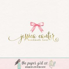 bow boutique logo premade logo design by ThePaperGirlCo on Etsy