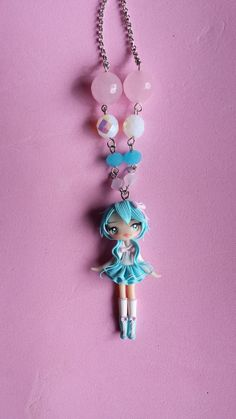 Polymer clay necklace girl blue polymer clay by Artmary2 on Etsy