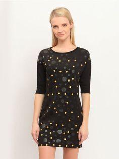 Γυναικείο φόρεμα με πουά print και μανίκια ¾. Χρώμα: Μαύρο. Kai, Chef Jackets, Fashion, Moda, Fashion Styles, Fashion Illustrations