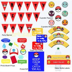 Pokemon Birthday - Pokemon Party Package, Pokemon Props, Pokeon Cupcake Toppers, Pokemon Printables, Pokemon Banner, Pokemon Party Supplies