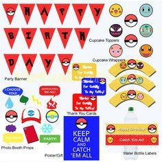 Pokemon Birthday - Pokemon Party Package, Pokemon Props, Pokeon Cupcake Toppers, Pokemon Printables, Pokemon Banner, Pokemon Party Supplies