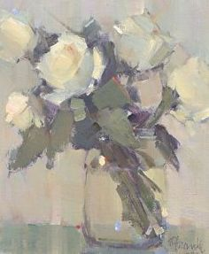 Nancy Franke - American / Atlanta (active) Rose Poetry, Oil ~ 12 x 10 Acrylic Flowers, Abstract Flowers, Paintings I Love, Beautiful Paintings, Floral Paintings, Art Floral, Art Aquarelle, Still Life Flowers, Garden Painting