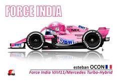 Esteban Ocon drives the Force India Grand Prix, Circuit Paul Ricard, Force India, Ferrari F1, Formula 1, Cars And Motorcycles, France, Race Cars, A4