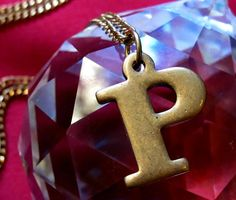 Vintage Brass P Initial Letter Necklace by BrooklynCharm on Etsy, $16.00
