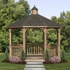 This slightly larger model also embraces the classic wooden gazebo, and is a great example of how keeping the design simple can look elegant.