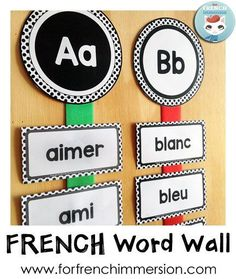 French Word Wall - use colorful ribbons to spice up a B&W word wall, like this polka dots set of headers and editable cards!