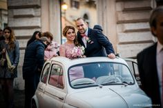 What's cuter than a vintage Fiat 500!! Congratulations to our couple from Columbia and Lebanon. www.weddingsinrome.com