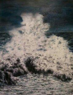 Crashing wave. Oil on canvas by Jesús Ojeda.